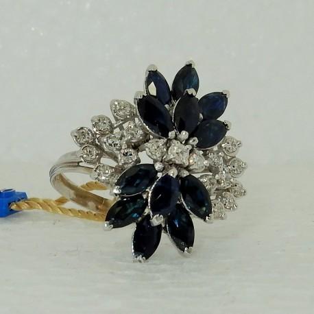 Anello Zaffiri blu e Diamanti in Oro bianco18kt modello LUXURY