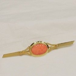Spilla Oro giallo 18 kt  corallo rosa originale