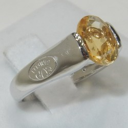 Anello donna Oro bianco 18kt topazio solitario sintetico