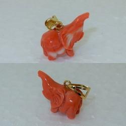 Pendente ciondolo Elefante corallo rosa naturale Orogiallo18 kt