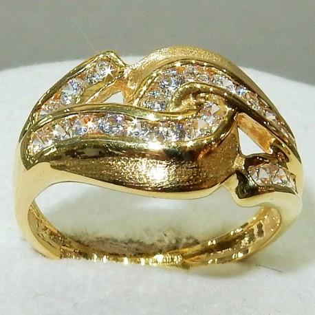 Anello fascia importante Oro massiccio bianco18kt con zirconi bianchi