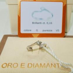 ANELLO DIAMANTE SOLITARIO CARATI 0.16 ORO BIANCO18KT