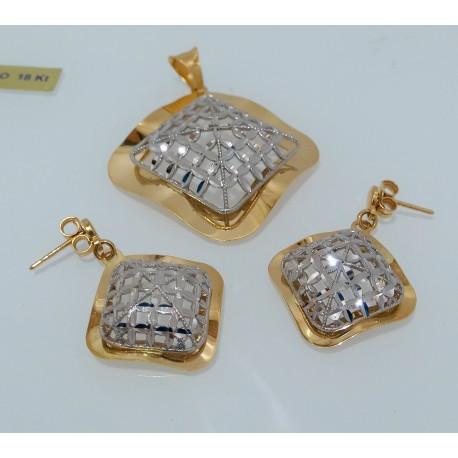 Ciondolo+Orecchini Oro massiccio giallo/bianco 18kt modello lucido e diamantata