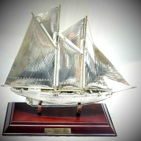 Barca Nave Veliero da pesca argento massiccio 925% lavorazione artistica fatta a mano