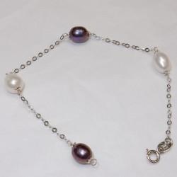 Bracciale con perle bicolore in Oro bianco 18kt-750%