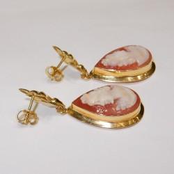 Orecchini classici pendenti Cammeo Oro Giallo 18kt-750%