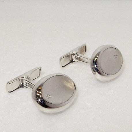 Gemelli Polsini in Oro bianco 18kt Madreperla e Diamanti