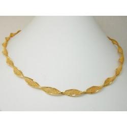 Girocollo Oro massiccio giallo 18kt modello catena intrecciata lucido e diamantata