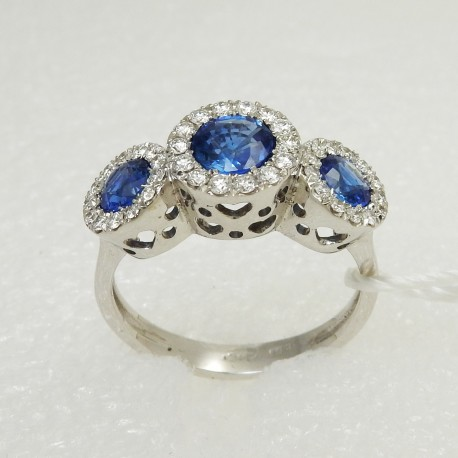 Anello Fascia Trilogy ZAFFIRI blu e Diamanti in Oro bianco18 kt NATURALI