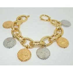 Bracciale donna Oro giallo bianco rosa 18 kt modello monete pendenti GRAMMI 20,50.