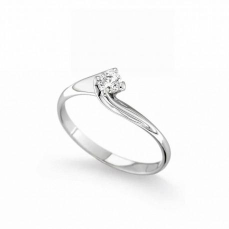 Anello solitario Diamanti naturali carati 0.05 Oro bianco18kt