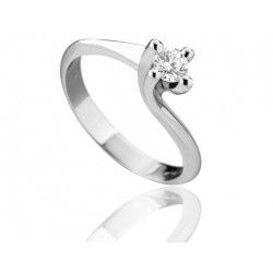Anello solitario Diamanti naturali carati 0.13 Oro bianco18kt