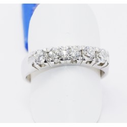 Anello Veretta  Oro Bianco 18kt 5 Diamanti naturali carati 0.75