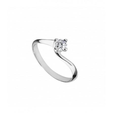 Anello solitario Diamanti naturali carati 0.20 Oro bianco18kt