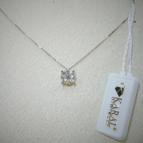 Collana Diamanti carati 0.30 certificati in Oro bianco 18kt by KARAL GIOIELLI