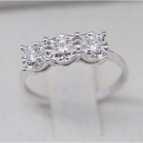 Anello trilogy Oro bianco18kt e Diamanti Certificati Carati 0,25