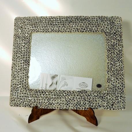 Vassoio placcato argento925% base in vetro artistico by ACCA ARGENTI