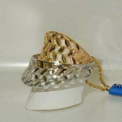 Anello doppio Oro giallo/bianco18kt-750%. lavorazione laser modello Graffio