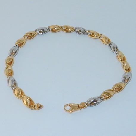 Bracciale uomo elegante oro giallo/bianco18kt-750%