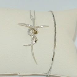 Croce stilizzata con Diamanti in Oro bianco18kt+catenina