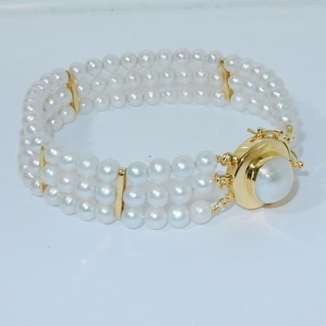 Bracciale Perle e Madreperla NATURALI in Oro Giallo18kt massiccio