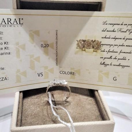 Anello trilogy Oro bianco18kt e Diamanti Certificati Carati 0,20