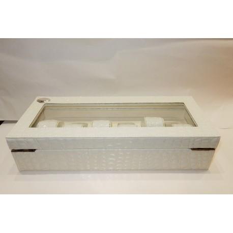 Porta Orologi in eco pelle bianca e placca argento 925% by MIDA ARGENTI
